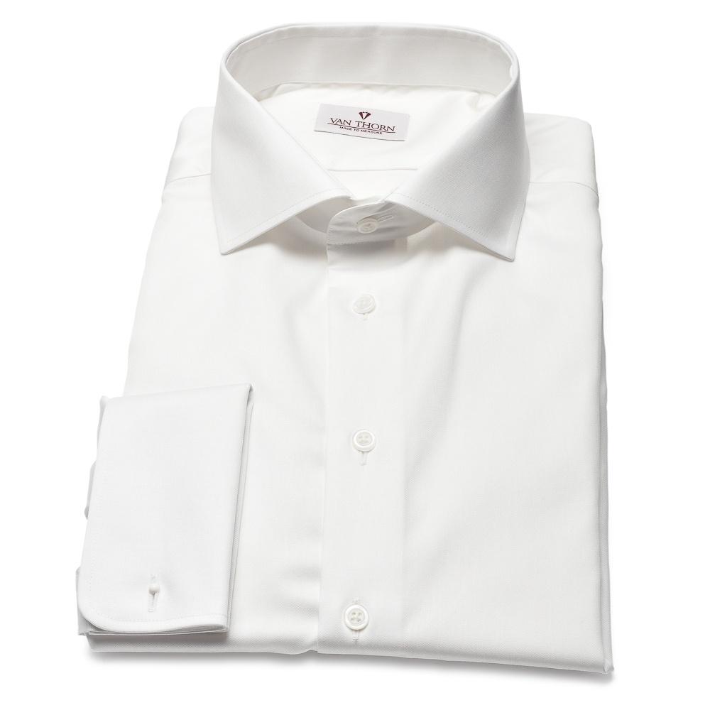 Image of Biała koszula męska van thorn z klasycznym kołnierzykiem i kontrastową wstawką 36