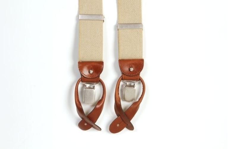 Image of Beżowe szelki męskie do spodni, uniwersalne z jasnobrązowym zapięciem na guziki lub klipsy