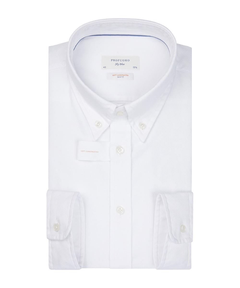 Image of Biała koszula profuomo z miękkiego oksfordu z kołnierzem na guziki 45