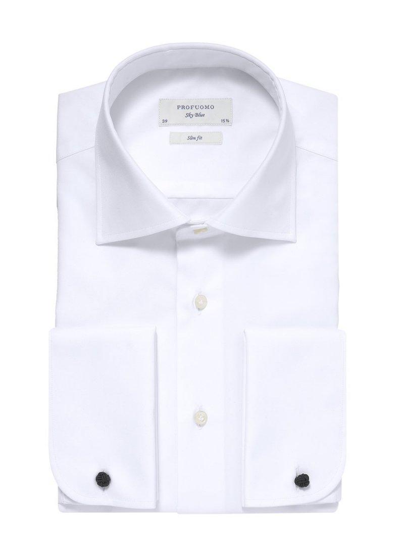 Image of Biała koszula męska taliowana (slim fit) z mankietami na spinki 46