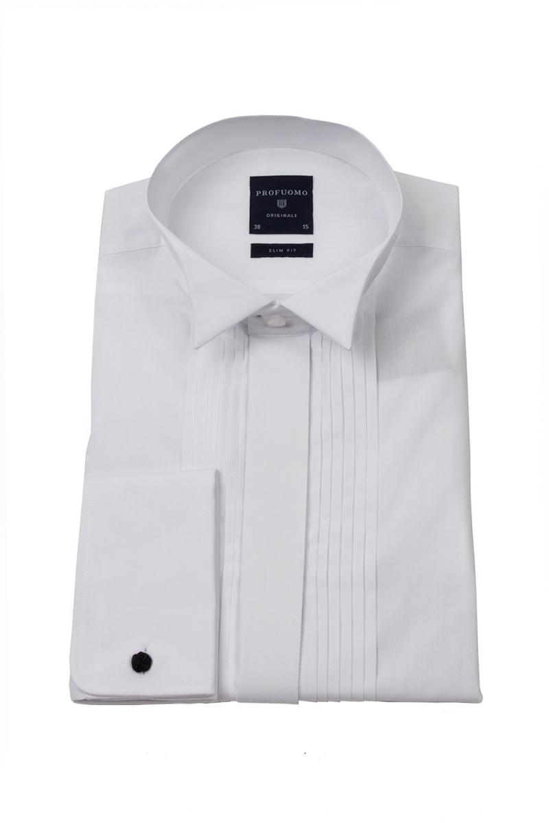 Image of Biała koszula męska smokingowa z łamanym kołnierzykiem, krytą listwą i plisami (slim fit) 37