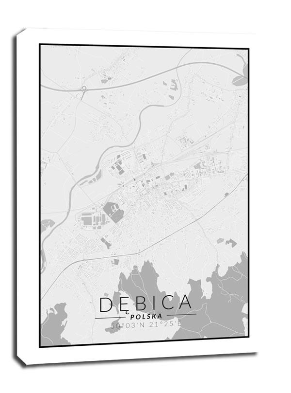 Image of Dębica mapa czarno biała - obraz na płótnie wymiar do wyboru: 60x80 cm