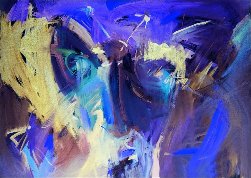 Image of Niebieska abstrakcja - plakat wymiar do wyboru: 40x30 cm