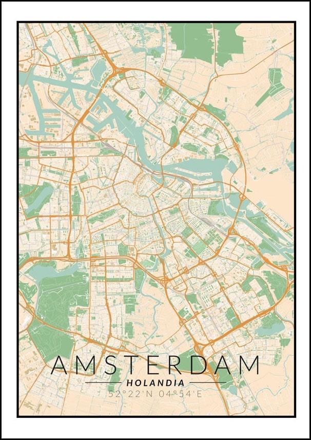 Image of Amsterdam mapa kolorowa - plakat wymiar do wyboru: 20x30 cm