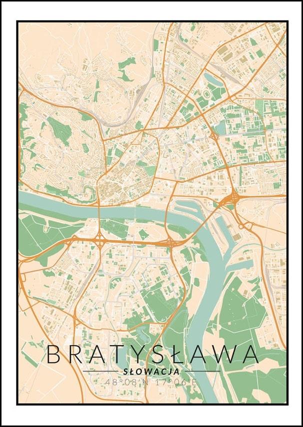 Image of Bratysława mapa kolorowa - plakat wymiar do wyboru: 20x30 cm