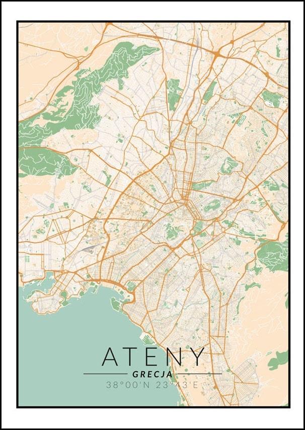 Image of Ateny mapa kolorowa - plakat wymiar do wyboru: 20x30 cm