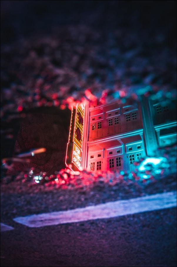 Image of Singapur, neon - plakat premium wymiar do wyboru: 21x29,7 cm