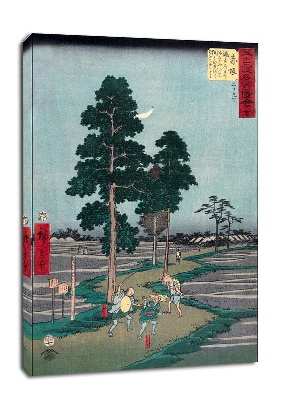 Image of Akasaka on the nawate road, yajirôbei takes kitahachi for a fox and beats him, hiroshige - obraz na płótnie wymiar do wyboru: 40x50 cm