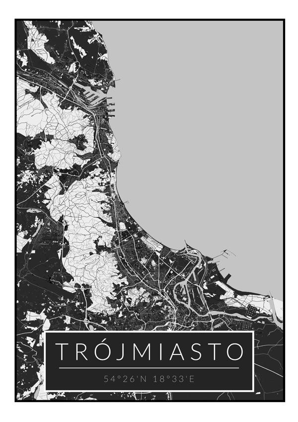Image of Trójmiasto czarna mapa - plakat wymiar do wyboru: 59,4x84,1 cm
