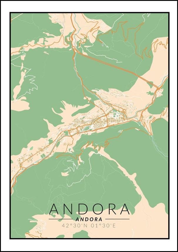 Image of Andora mapa kolorowa - plakat wymiar do wyboru: 20x30 cm