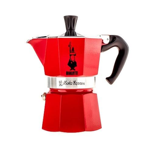 Image of Bialetti moka express 3 filiżanki espresso czerwona - włoska kawiarka aluminiowa ciśnieniowa