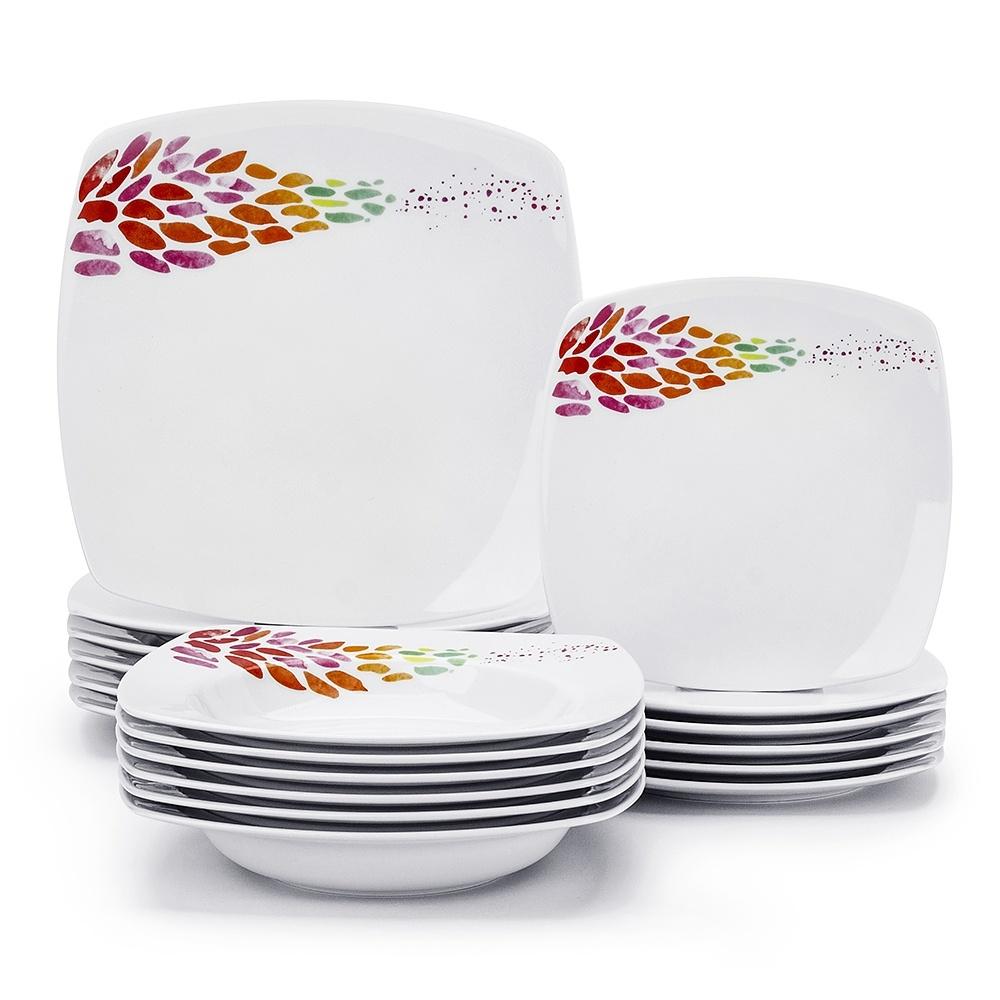 Image of Komplet talerzy porcelanowych ceramika tułowice color drops biały na 6 osób (18 el.)