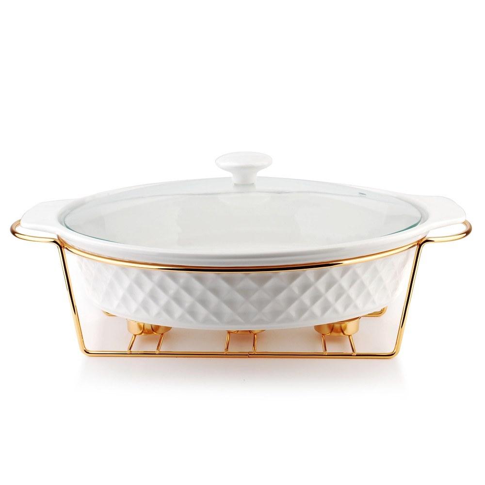 Image of Naczynie żaroodporne ceramiczne z podgrzewaczem diament gold owalne białe 2,6 l