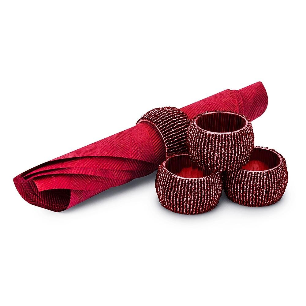 Image of Obrączki na serwetki plastikowe napkin czerwone 4 szt.