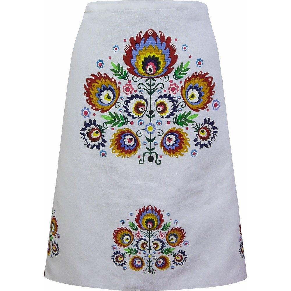 Image of Jedeka ludowa v biała - zapaska kuchenna bawełniana