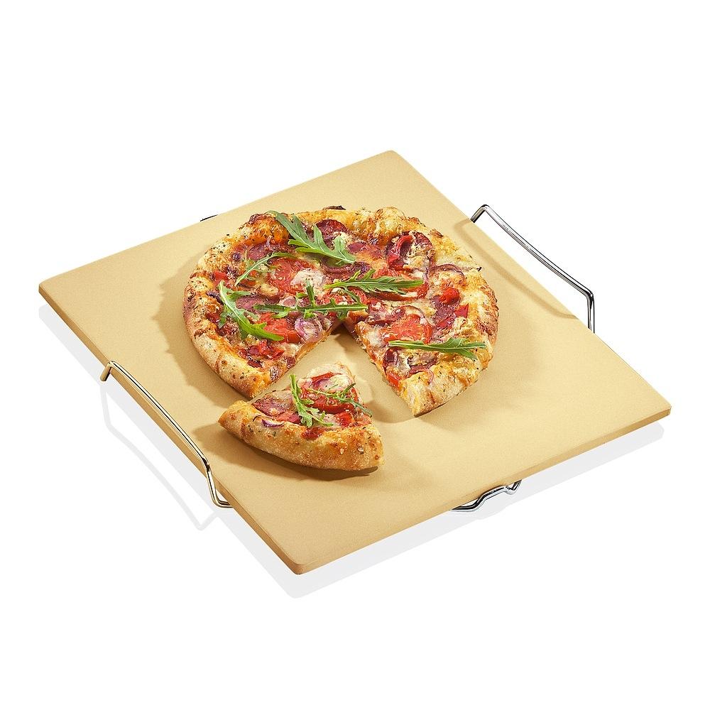 Image of Kamień do pizzy kordierytowy ze stojakiem kuchenprofi jammy beżowy 38 x 35 cm