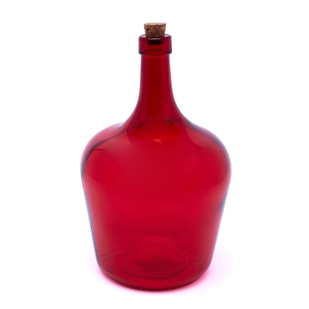 Image of Butelka szklana z korkiem pear czerwona 2 l