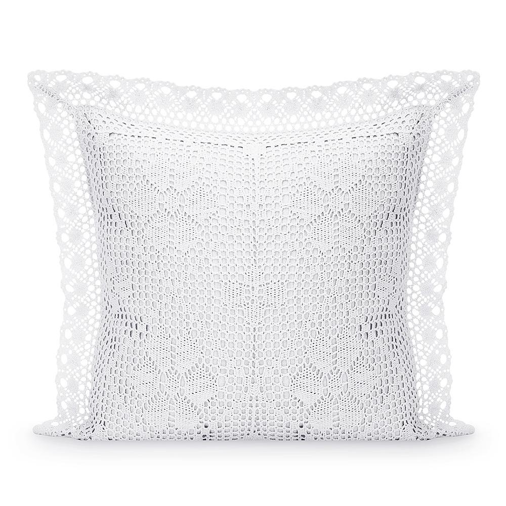 Image of Jedeka szydełkowa biała 40 x 40 cm - poszewka na poduszkę ozdobna bawełniana