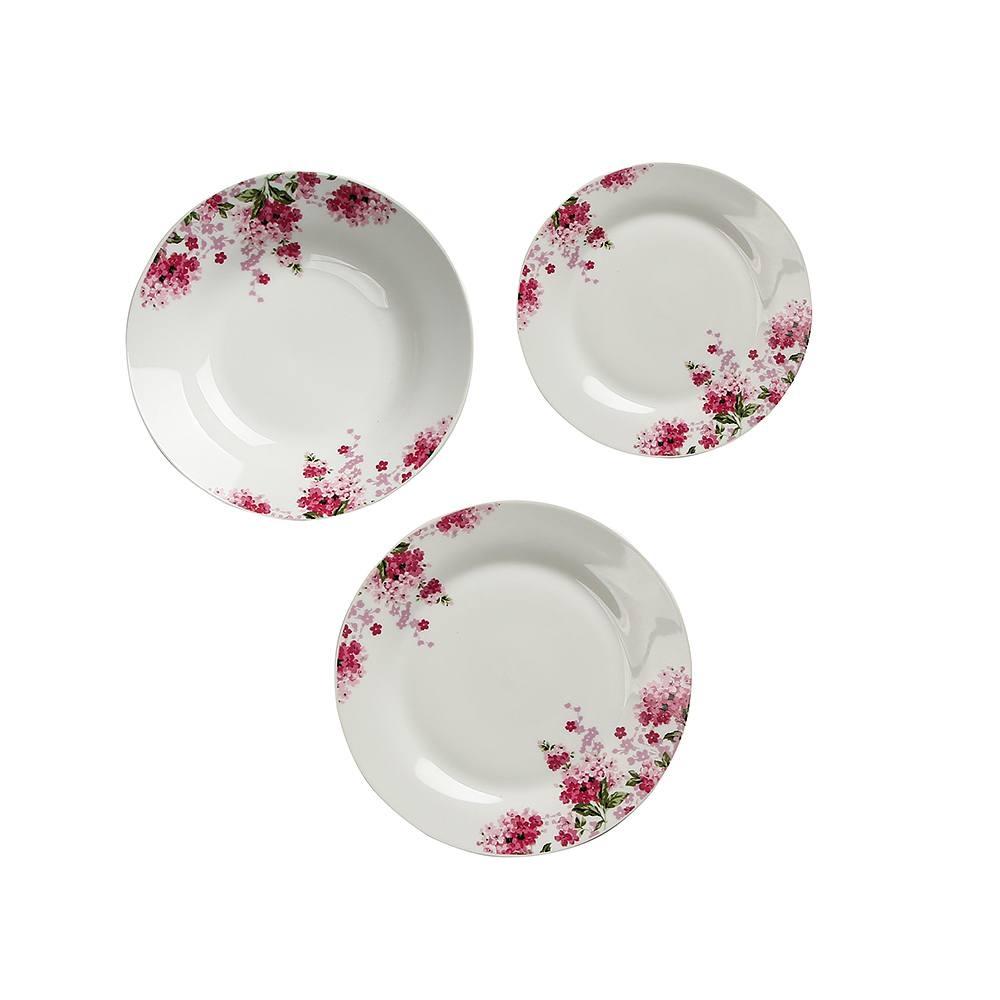 Image of Komplet talerzy porcelanowych diana biały na 6 osób (18 el.)