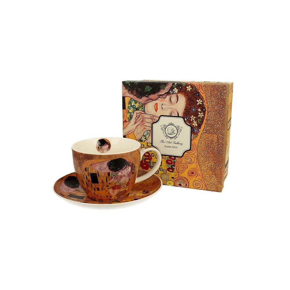 Image of Duo art gallery by gustav klimt the kiss 450 ml brązowa - filiżanka do kawy i herbaty porcelanowa ze spodkiem