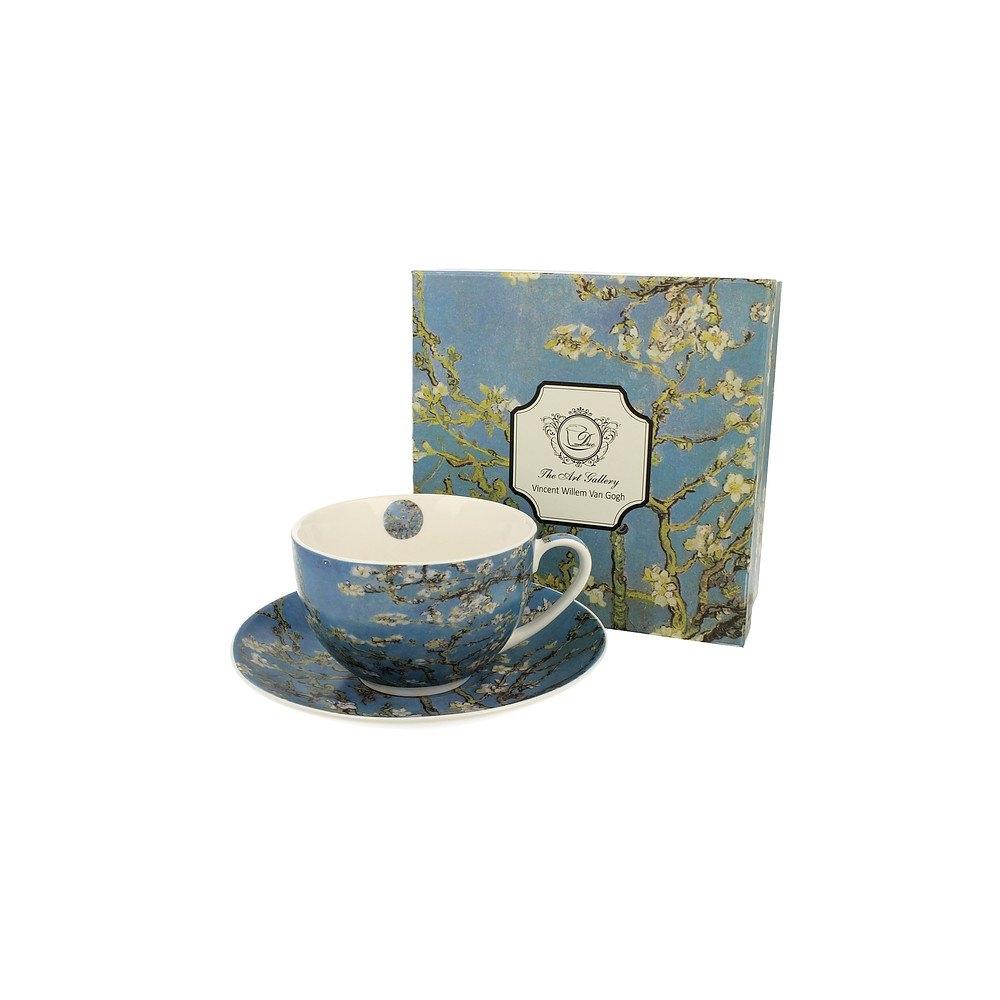 Image of Duo art gallery by vincent van gogh almond blossom 280 ml błękitna - filiżanka do kawy i herbaty porcelanowa ze spodkiem