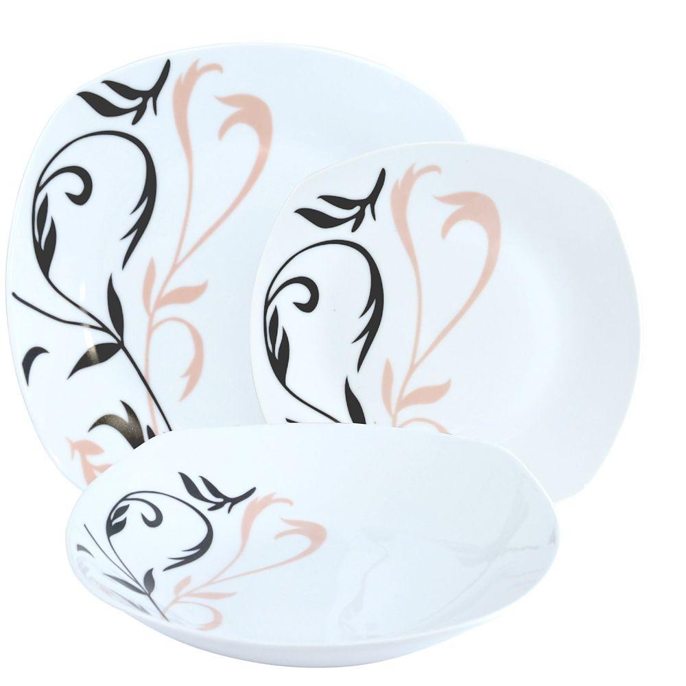 Image of Komplet talerzy porcelanowych fancy biały na 6 osób (18 el.)
