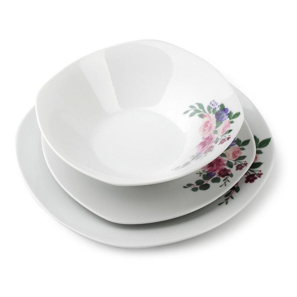 Image of Komplet talerzy porcelanowych bukiet biały na 6 osób (18 el.)