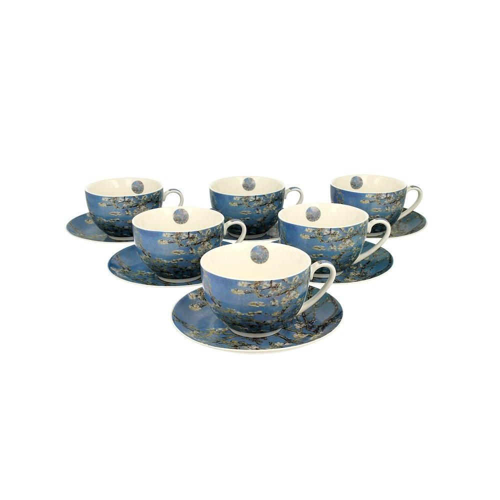 Image of Duo art gallery by vincent van gogh almond blossom 280 ml 6 szt. błękitne - filiżanki do kawy i herbaty porcelanowe ze spodkami