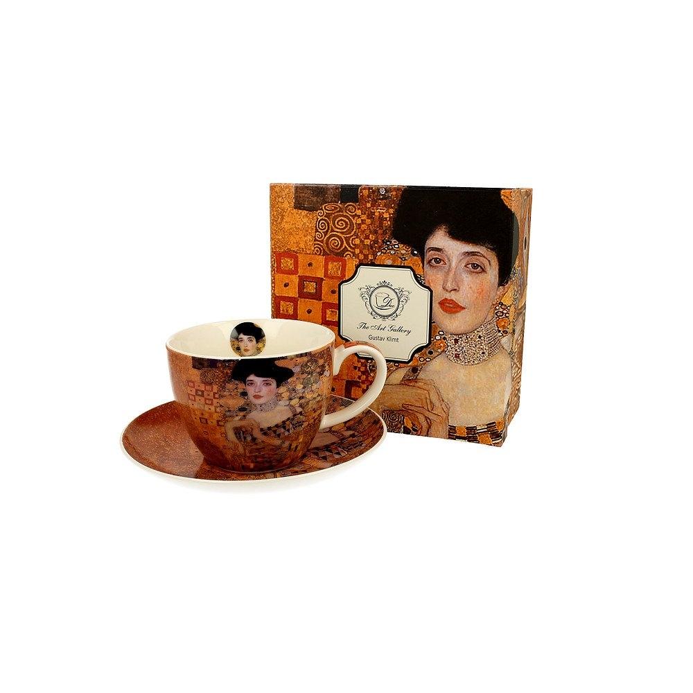 Image of Duo art gallery by gustav klimt adele bloch-bauer i 450 ml brązowa - filiżanka do kawy i herbaty porcelanowa ze spodkiem