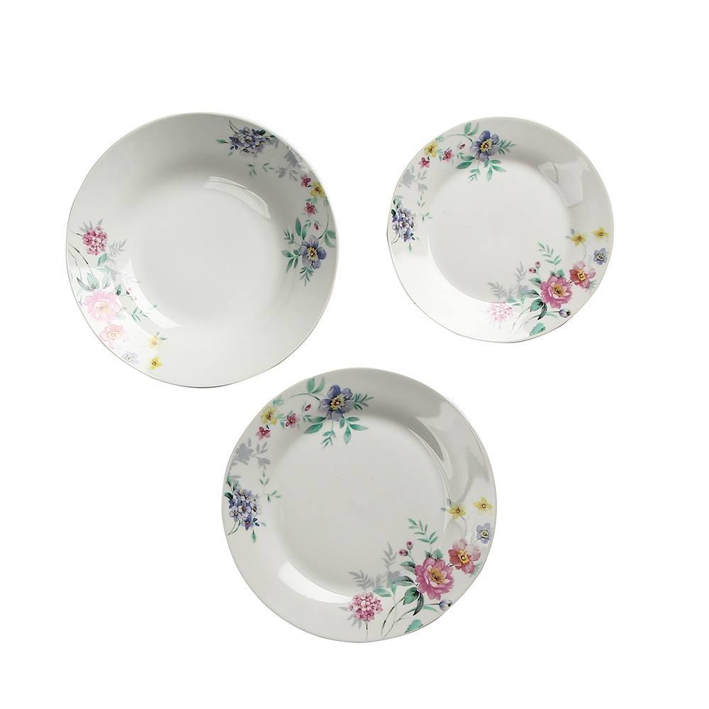 Image of Komplet talerzy porcelanowych bianka biały na 6 osób (18 el.)