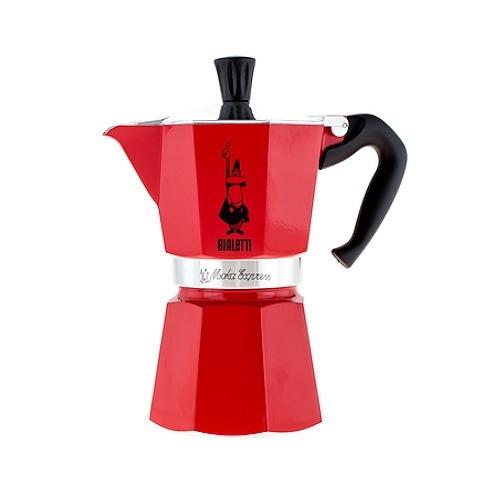 Image of Bialetti moka express 6 filiżanek espresso czerwona - włoska kawiarka aluminiowa ciśnieniowa