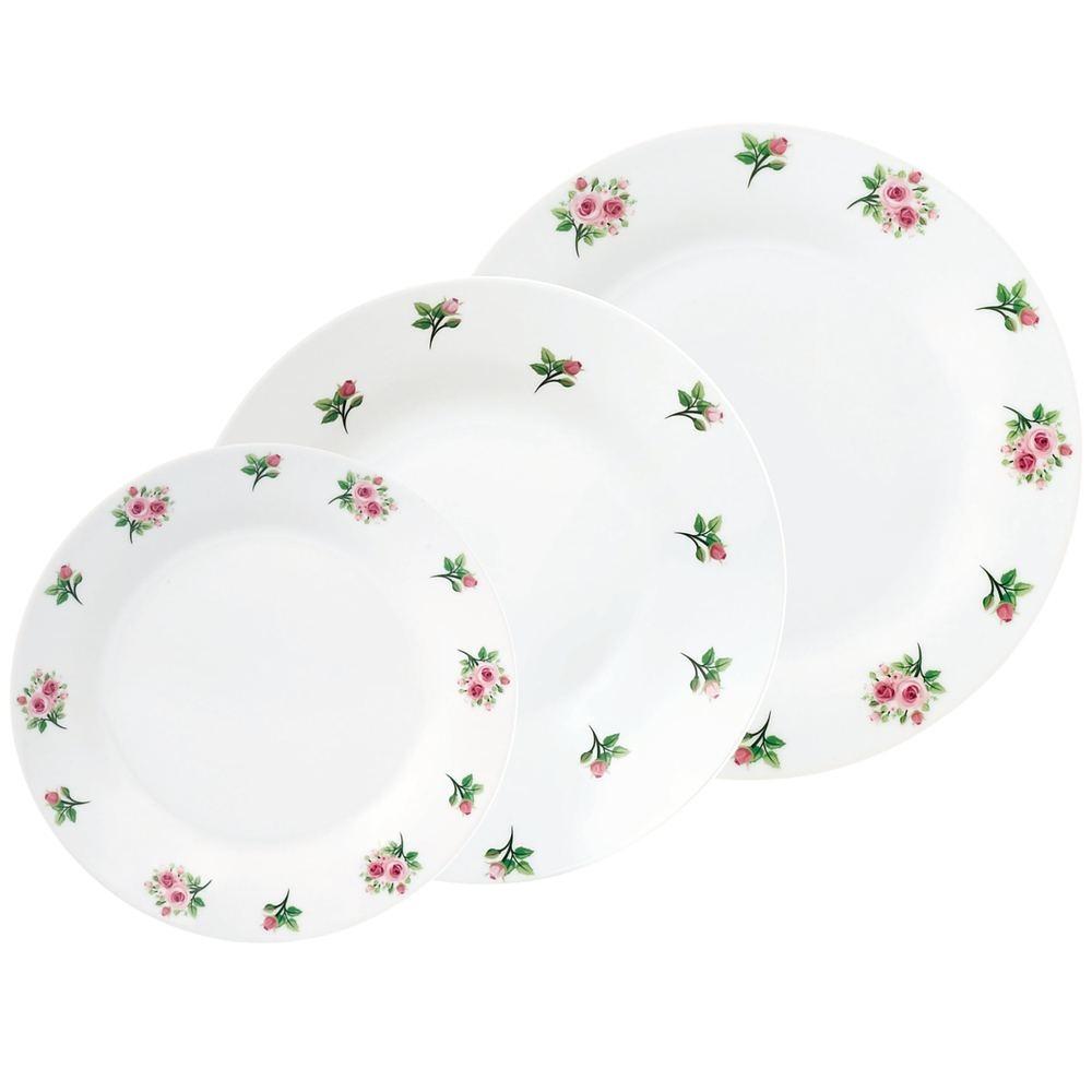 Image of Komplet talerzy porcelanowych aura biały na 6 osób (18 el.)