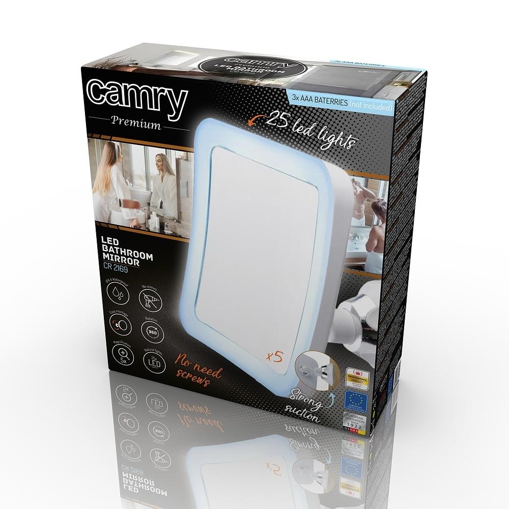 Image of Camry beauty białe - lusterko kosmetyczne podświetlane szklane
