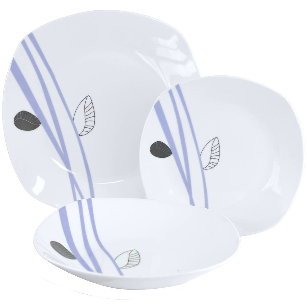 Image of Komplet talerzy porcelanowych delicate biały na 6 osób (18 el.)