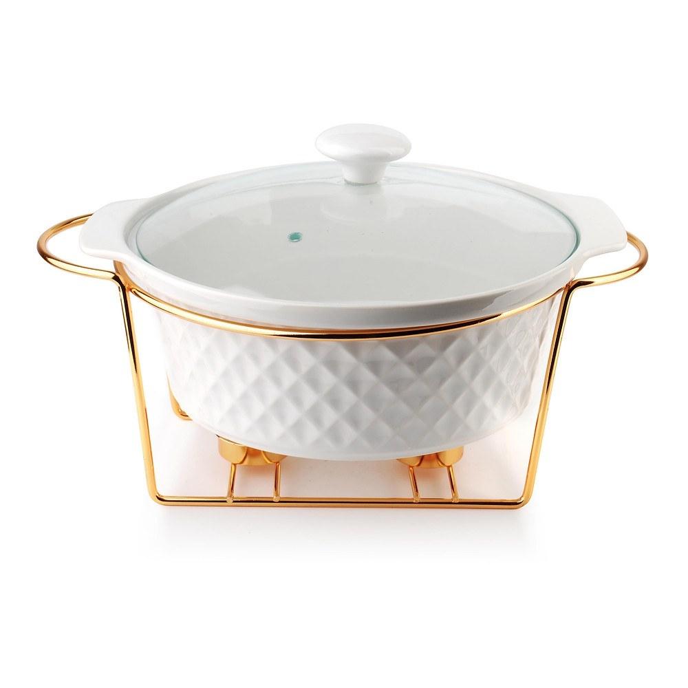 Image of Naczynie żaroodporne ceramiczne z podgrzewaczem diament gold okrągłe białe 2,3 l