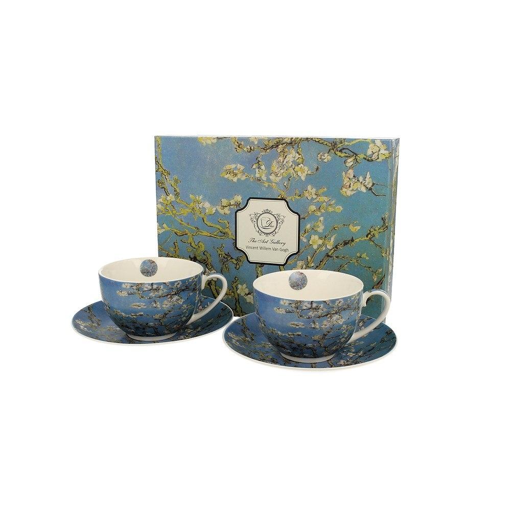 Image of Duo art gallery by vincent van gogh almond blossom 280 ml 2 szt. błękitne - filiżanki do kawy i herbaty porcelanowe ze spodkami