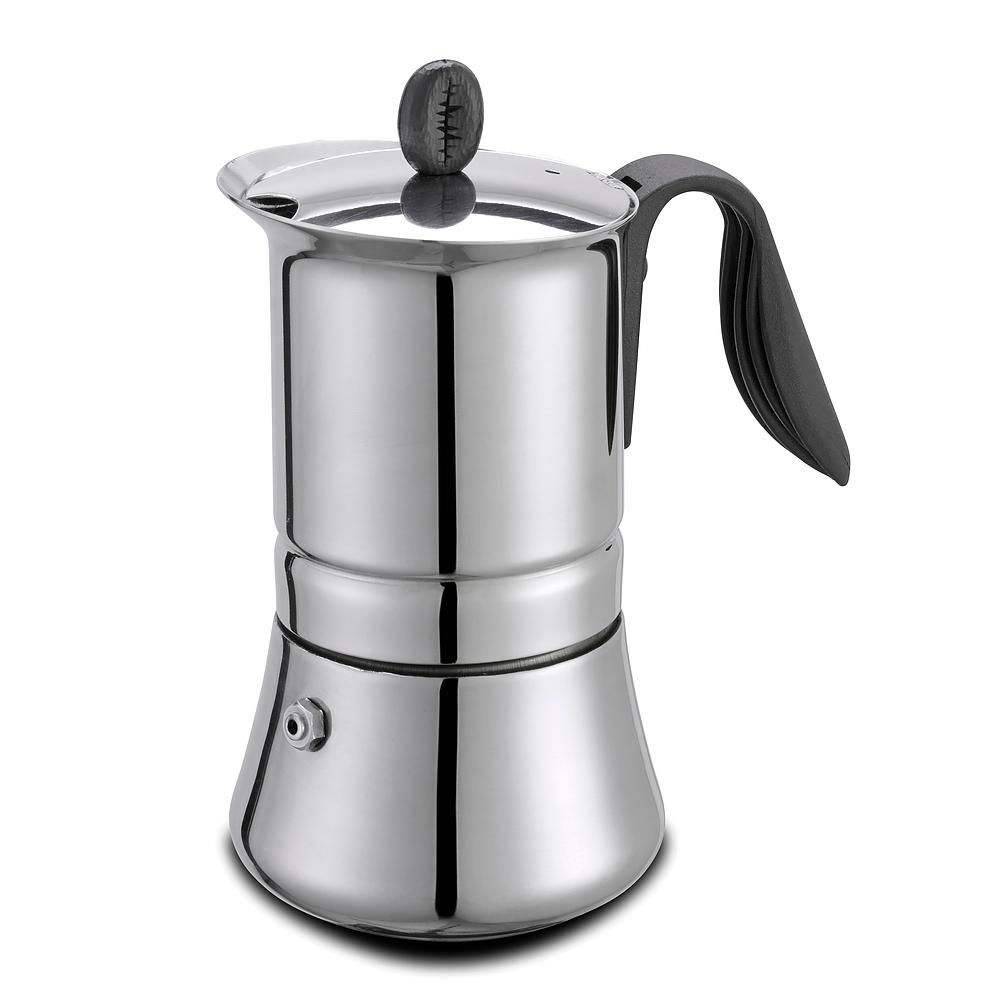 Image of Włoska kawiarka stalowa ciśnieniowa gat lady inox - kafetiera na 4 filiżanki espresso