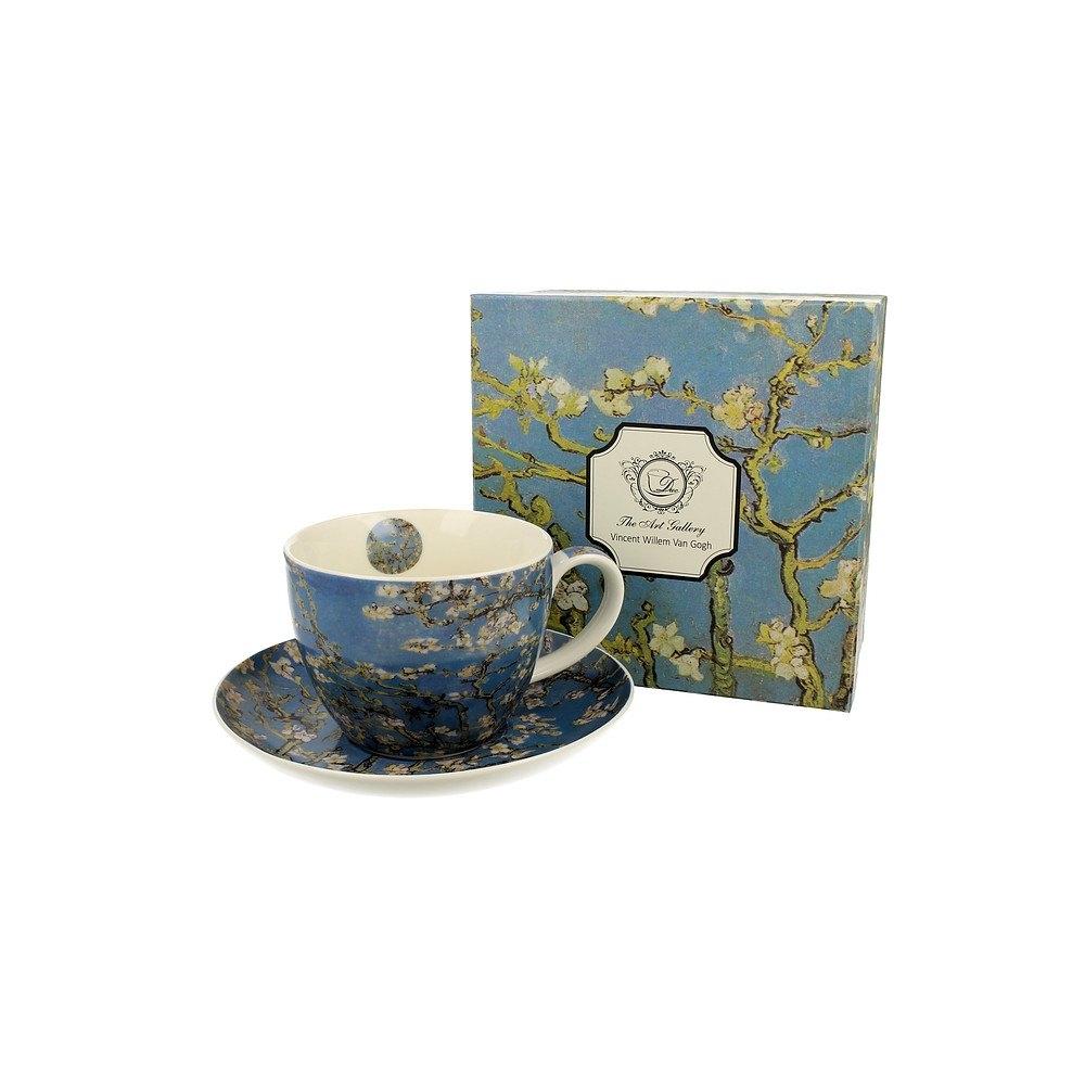 Image of Duo art gallery by vincent van gogh almond blossom 450 ml błękitna - filiżanka do kawy i herbaty porcelanowa ze spodkiem