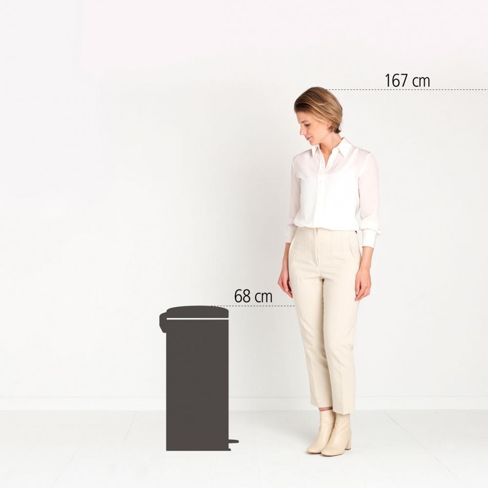 Image of Brabantia newicon 30 l czerwony - kosz na śmieci ze stali nierdzewnej z pedałem
