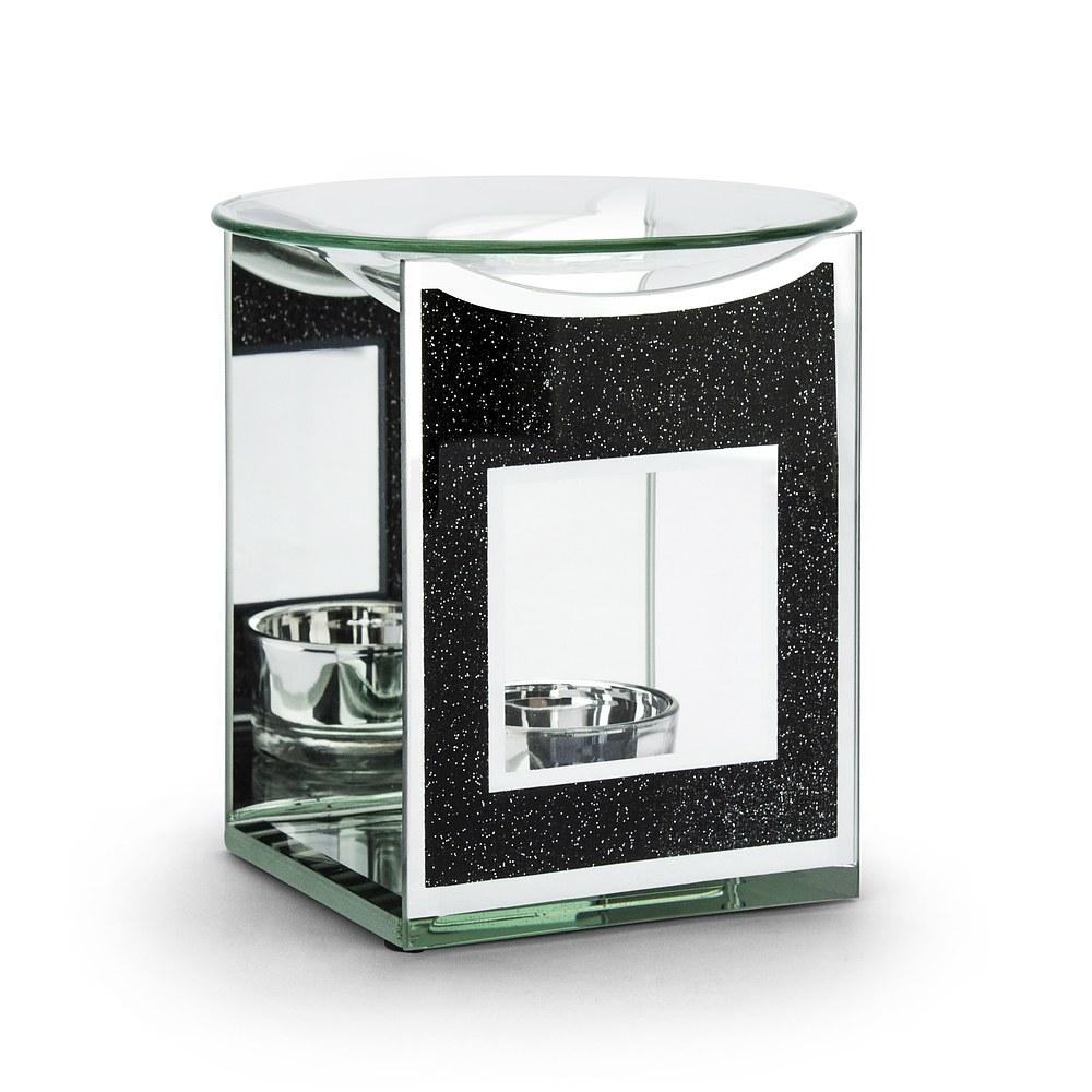 Image of Kominek zapachowy do wosku i olejków szklany duo black glitter czarny