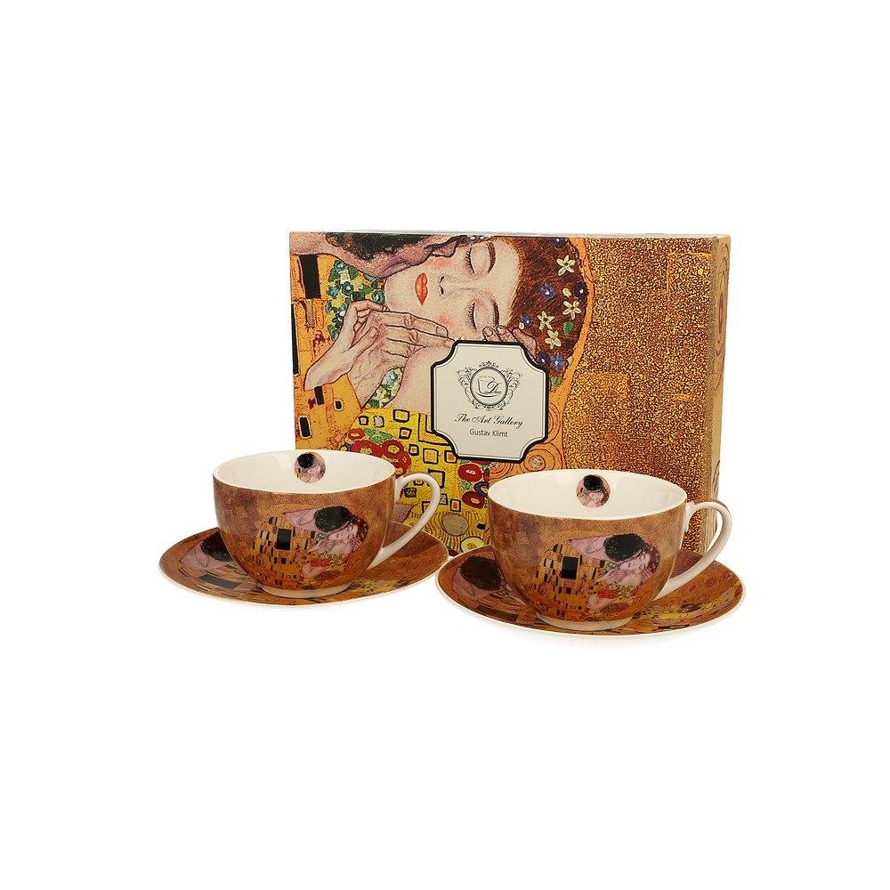 Image of Duo art gallery by gustav klimt the kiss 280 ml 2 szt. brązowe - filiżanki do kawy i herbaty porcelanowe ze spodkami