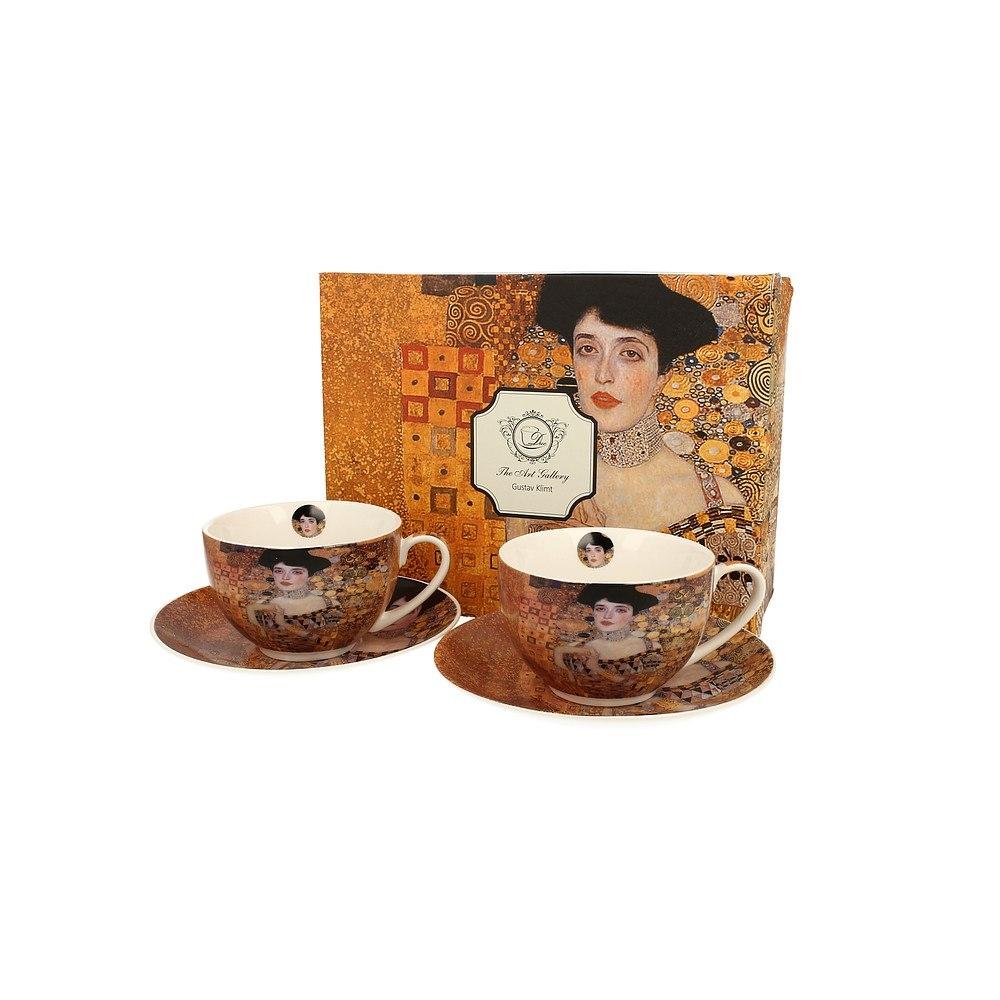 Image of Duo art gallery by gustav klimt adele bloch-bauer i 280 ml 2 szt. brązowe - filiżanki do kawy i herbaty porcelanowe ze spodkami