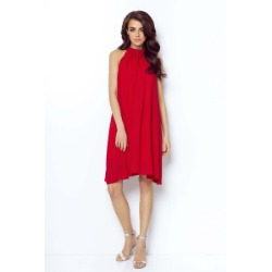 Czerwona zwiewna sukienka mini z dekoltem na stójce