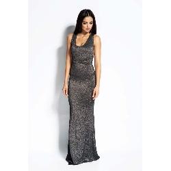 Srebrna sukienka wieczorowa maxi z wyciętymi plecami