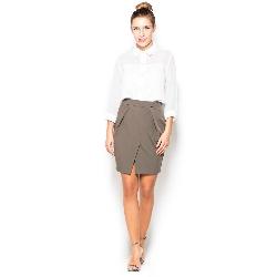 Oliwkowa mini spódnica ołówkowa z kieszeniami