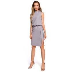 Szara midi sukienka na stójce bez rękawów