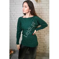 Wizytowa zielona bluzka dzianinowa, oversize z koronką   8055
