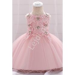 Jasno różowa sukienka dla dziewczynki z motylkami 899
