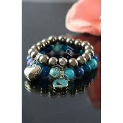 Bransoletka z marmurka niebiesko białego, kamienie naturalne, hand made