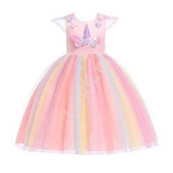 Jasno różowa sukienka dla dzieczynki z jednorożcem  003